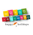 happy holidays design with symbols on colorful vector image vector image