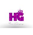 hg h g dots letter logo with purple bubbles vector image