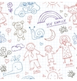 Kids Drawings doodle seamless pattern Vintage vector image