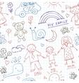 Kids Drawings doodle seamless pattern Vintage vector image vector image
