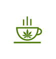 logo of coffee shop leaf of cannabis on cup vector image vector image