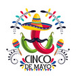 mexican hat with chili peppers and maracas to vector image vector image