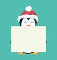 penguin christmas card holding a white placard vector image