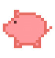 piggy bank money pixel art cartoon retro game vector image vector image