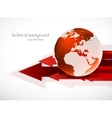 Red globe with arrows vector image vector image