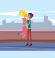 romantic date on roof young people in love vector image