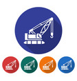 round icon of tractor crane flat style with long vector image