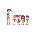 school children on excursion woman guide vector image