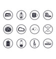 set 12 camping silhouette icons and symbols vector image