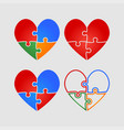set colorful pieces puzzle of romantic hearts vector image