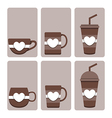 set of cute coffee cup vector image vector image