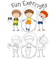 set of doodle people excercise vector image vector image