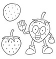 set of strawberry vector image vector image