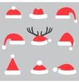 set santa hats vector image vector image
