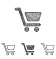 Shopping cart icon set - sketch line art vector image vector image