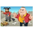 Social inequality rich man and janitor outdoor vector image vector image