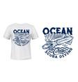 t-shirt squid print diving club emblem vector image