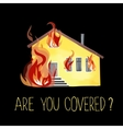 The burning house fire out of the windows vector image vector image
