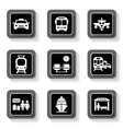 transport buttons with white silhouette vector image vector image