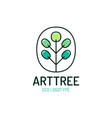 tree logo eco symbol palm in a tree shape bio vector image