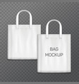 white realistic shoping bag template isolated vector image vector image