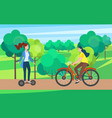 women on segway bicycle in park leisure vector image vector image