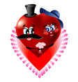 two loving hearts in one vector image