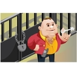 Creative scene cool businessman locks the door vector image
