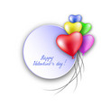 3d realistic red heart balloons flying with love vector image vector image
