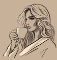beautiful girl with a cup coffee vector image vector image