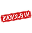 Birmingham red square grunge retro style sign vector image vector image
