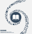 Book icon in the center Around the many beautiful vector image vector image