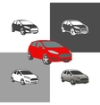 car compact city vehicle silhouette icons colored vector image vector image
