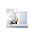 chef in restaurant kitchen cooking vector image vector image