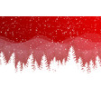 christmas winter on red background white snow vector image vector image