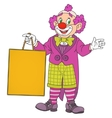 Clown with blank board vector image vector image