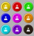 Conical Flask icon sign symbol on nine round vector image vector image