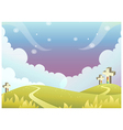 Cross on rolling landscape vector image