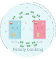 family banking concept in line art style vector image vector image