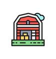 farm house landscape flat color line icon vector image vector image