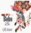 fashion with indian head dress and arrows boho vector image