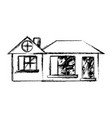 figure big house with roof and windows with door vector image vector image