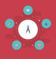 flat icons case scheme compass and other vector image vector image
