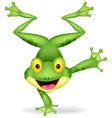 Funny frog cartoon standing on its hand vector image