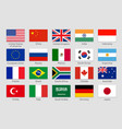 g20 countries flags major world advanced and vector image