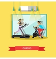 Girls are doing cardio exercises in the gym vector image vector image