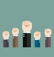 hands of business team raised fist air vector image