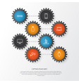 hardware icons set collection usb monitor vector image vector image