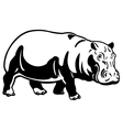 hippopotamus black white image vector image vector image