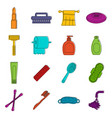 hygiene tools icons doodle set vector image